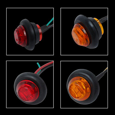 """20X Red + Amber LED Bullet Side Marker Light Flush Mount Truck Trailer 12V 3/4"""" 2"""