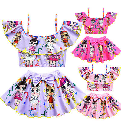 Kids LoL Surprise Girls Costume bagno Costumi bagno Bikini 2 Set costume 3-10Y 2