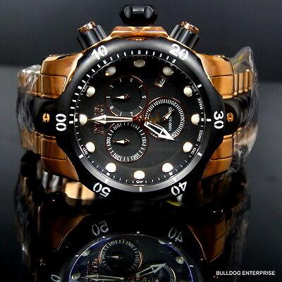 Mens Invicta Reserve Venom Rose Gold Tone Chronograph Swiss Made Black Watch New 3
