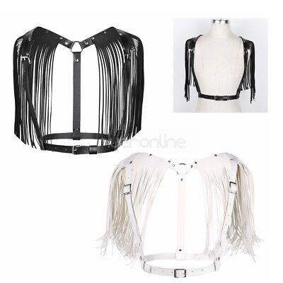 Damen Brust Harness Sexy Körper Geschirr PU Leder Body Taillegürtel mit Quasten 4