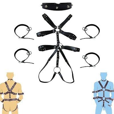 Herren Lederbody Harness Riemenbody mit Halsband Armband Dessous Set Reizwäsche 2
