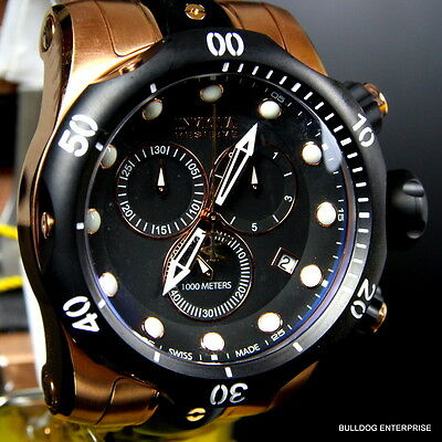 Mens Invicta Reserve Venom Rose Gold Tone Chronograph Swiss Made Black Watch New 10