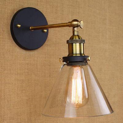 Modern Industrial Antique Brass Arm Wall Sconce Light  Glass Shade Wall Lamp 5
