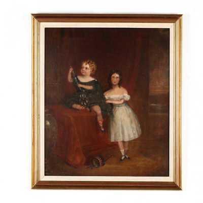 BEAUTIFUL Original Antique 19th C Antique Portrait Painting of Two Girls, c 1840 2