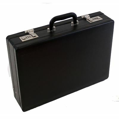 Professional Mens Leather Executive Black Briefcase with Combination Locks 2