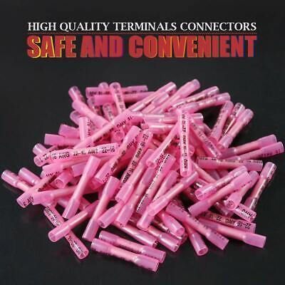 100Pcs Red Heat Shrink Butt Wire Connectors Crimp Terminals AWG 16-22 Gauge US 9