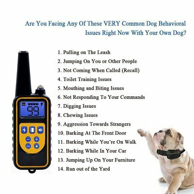 1/2/3 Dog Shock Training Collar With Remote Rechargeable IP67 For Large 880 Yard 8