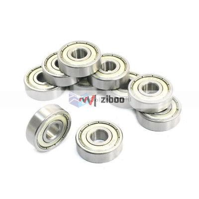 10 Pcs 629Z  9x26x8mm Single Row Shielded Deep Groove Ball Bearings Silver Tone 2