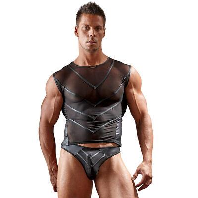 "Sexy Herren Shirt T-Shirt Powernet schwarz glanz S M L XL 2XL ""Carlos"" 3"
