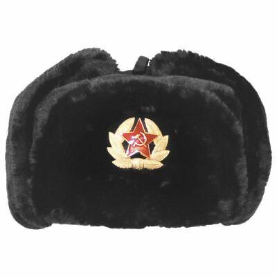 Russian Trapper Hat black With Soviet Badge Faux Fur Ushanka Cossack Flap Cap AU 6
