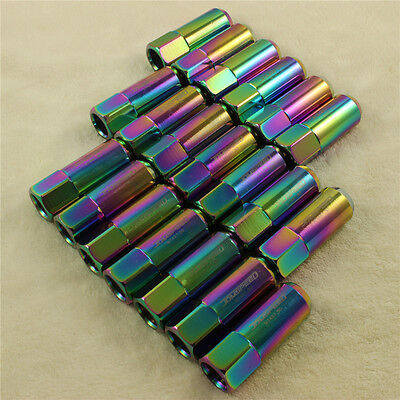 Neo Chrome 20Pcs 60Mm M14X1.5Mm Aluminum Tuner Racing Extended Forged Lug Nuts 3