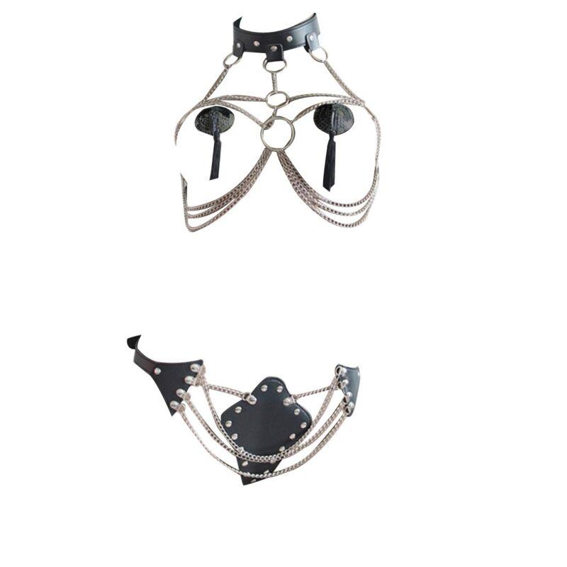 Damen Body BH Harness Kette Sets Chain Leder-harness Gürtel Bondageset Kleidung 6