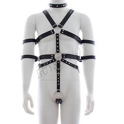 Herren Riemen Body Körper Harness Erwachsene Lederfesseln Set Bondageset Schwarz 2