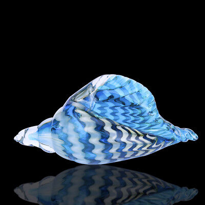 Hand Blown Glass Murano Art Style Seashell Conch Sculpture Ocean Multi-color