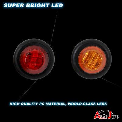 """20X Red + Amber LED Bullet Side Marker Light Flush Mount Truck Trailer 12V 3/4"""" 6"""
