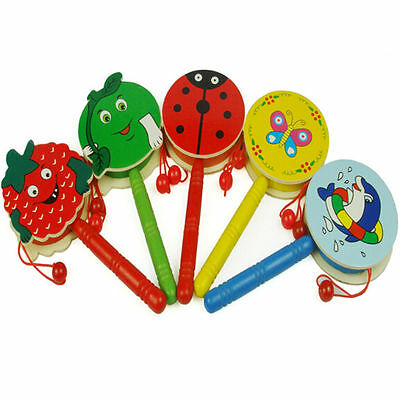 1X Baby Kid Wooden Musical Hand Bell Shaking Rattle Drum Toy F4E2