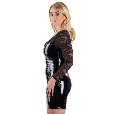 """Black Level Lack Kleid S M L XL 2XL Spitze Partykleid Minikleid Zip Erotik """"Luh"""" 4"""