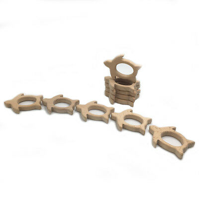 Natural Beech Wood Teething Ring Baby Nursiing Chewable Teether Jewelry Making 5