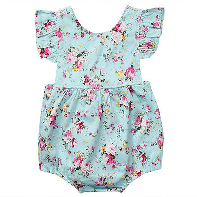Newborn Baby Girl Flower Ruffle Romper Bodysuit Jumpsuit Outfit Clothes 0-18M 2