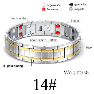4Elements Titanium Steel Magnetic Far Therapy Negative Ions Bracelet Pain Relief 7
