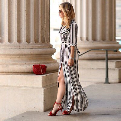 Sexy Donna Manica Lunga Tunica Maglietta Abito Nero Bianco A righe BOHO Vestiti 3