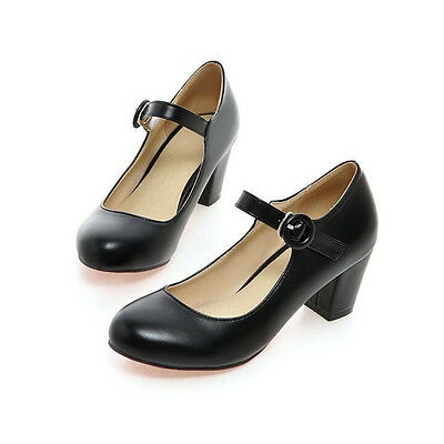 5f591787139d ... Women s Ankle Strap Mid Block Heels Pumps Mary Jane Court Shoes Round  Toe Size 8