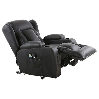 4 Of 9 Caesar Electric Rise Recliner Winged Leather Armchair Massage Heated  Chair