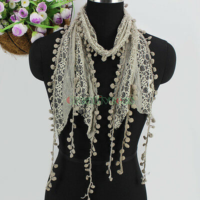 Women's Fashion Scarf Pom-Pom Tassel Lace Sheer Solid Color Long Scarf Shawl New 2