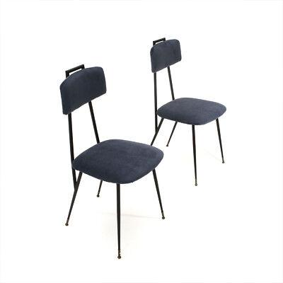 COPPIA DI SEDIE in metallo e velluto blu anni \'50, vintage chairs ...
