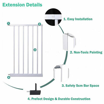 Adjustable Baby Pet Child Kid Safety Security Gate Stair Barrier Door Extension 8