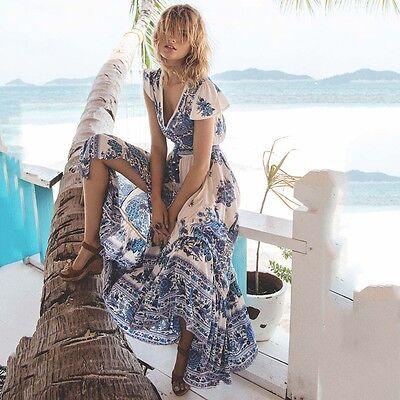 Boho Sexy Donna Scollo V Chiffon Abito Lungo Maxi Spiaggia Da Festa Prendisole 2