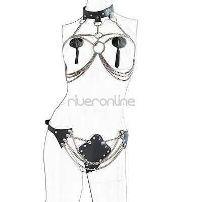 Damen Body BH Harness Kette Set Chain Leder-harness Gürtel Bondageset Reizwäsche 5