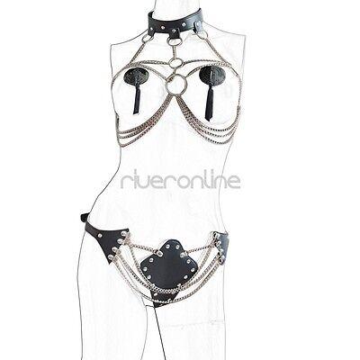 Damen Body Körper Kette BH Harness Leder Fesseln Ketten mit Halsband G-string 3
