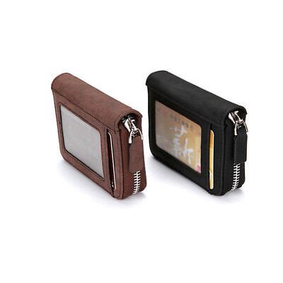 Antimagnetic RFID Men's Leather Credit Card Short Wallet Holder Coin Zip Bag EA