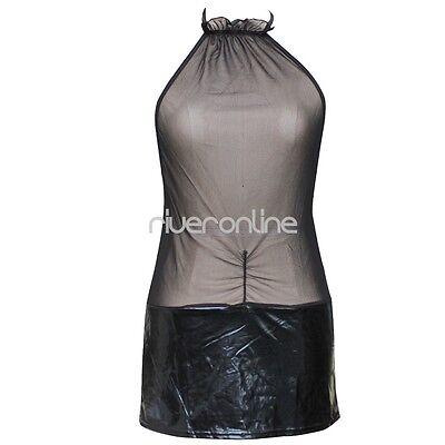 Damen Lingerie Dessous Lackleder Negligee Clubwear Babydoll Partykleid Schwarz 7