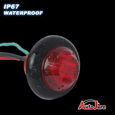 """20X Red + Amber LED Bullet Side Marker Light Flush Mount Truck Trailer 12V 3/4"""" 9"""