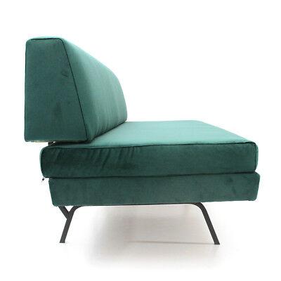 divano letto in velluto verde anni 60, mid century sofa, vintage