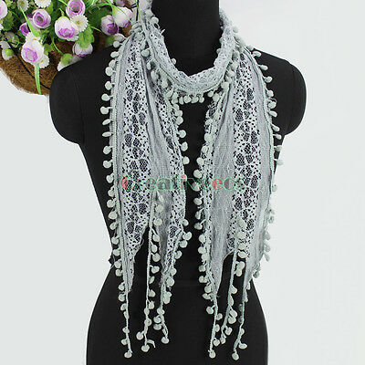 Women's Fashion Scarf Pom-Pom Tassel Lace Sheer Solid Color Long Scarf Shawl New 3
