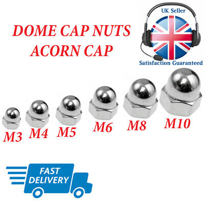 M4 Stainless Steel Dome Nuts x10 Acorn Nuts, Mushroom Nuts 4mm Dome Nuts