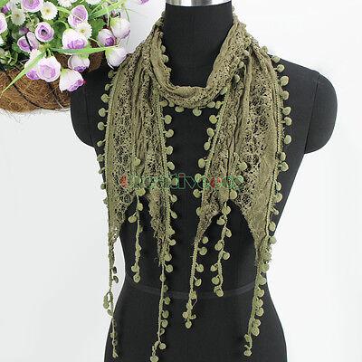 Women's Fashion Scarf Pom-Pom Tassel Lace Sheer Solid Color Long Scarf Shawl New