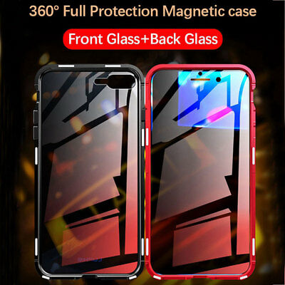 360° Magnetic Adsorption Front+Back Temper Glass Case Cover for iPhone XS Max XR 12