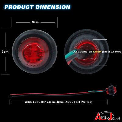"""20X Red + Amber LED Bullet Side Marker Light Flush Mount Truck Trailer 12V 3/4"""" 4"""