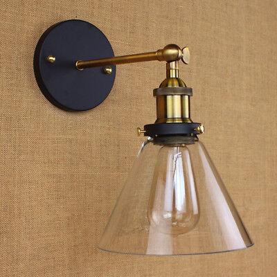 Modern Industrial Antique Brass Arm Wall Sconce Light  Glass Shade Wall Lamp 7