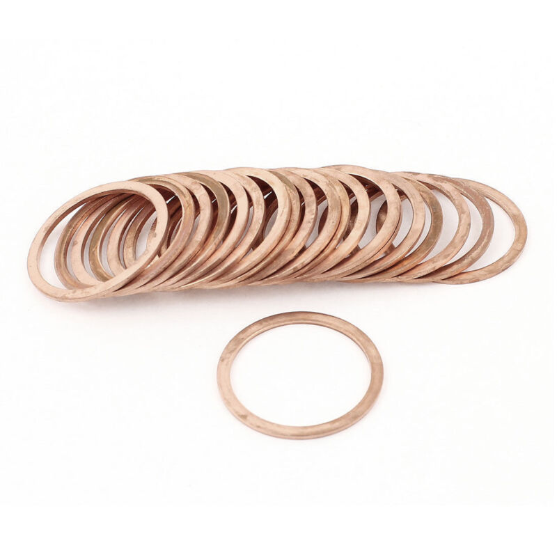 H● 20* 30mm Inner Diameter Flat Copper Crush Washer Sealing Ring Spacer 3