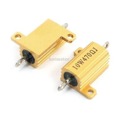 H● 2*  Aluminum Housed Clad Wirewound Resistor 470 Ohm 10 Watt. 3