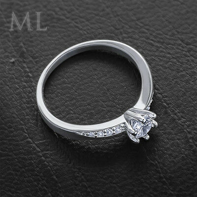 Womens Delicate 3/4 CT Promise Engagement RING For Her Silver Plated SIZE 4-10 5