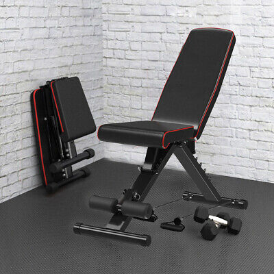 EasyBuild Adjustable Folding Olympic Weight Bench - Upright to Decline Black 9