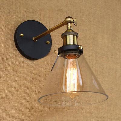 Modern Industrial Antique Brass Arm Wall Sconce Light  Glass Shade Wall Lamp 6