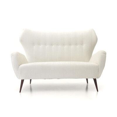 DIVANO DUE POSTI in velluto bianco anni \'40, velvet sofa, 50s ...
