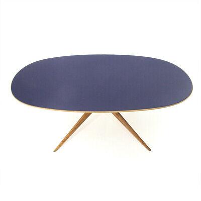 TAVOLO OVALE CON piano in vetro blu anni '50, dining table, mid-century  modern